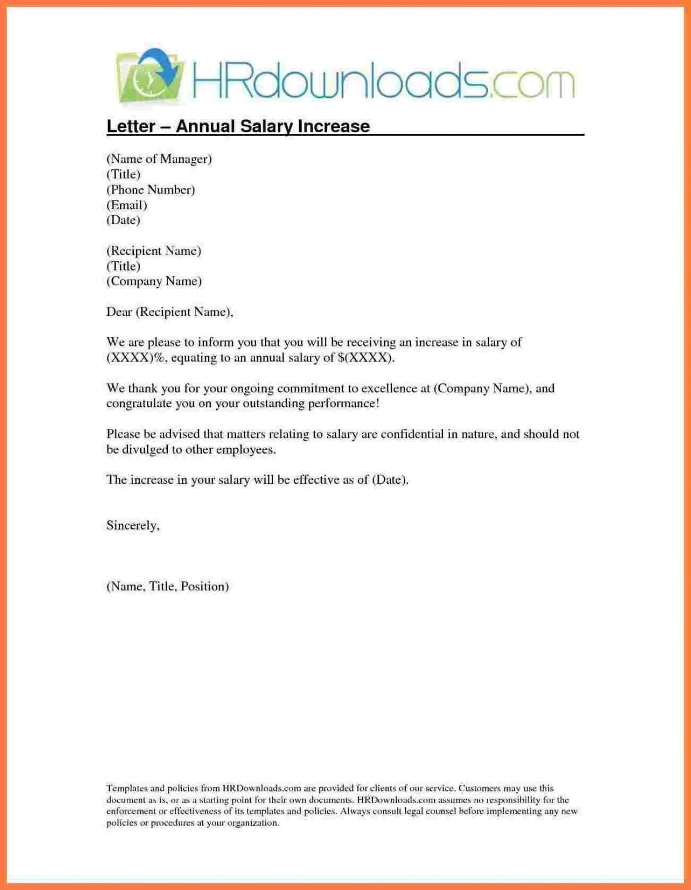 005 Singular Salary Increase Letter Template Idea  From Employer To Employee Australia No For1400