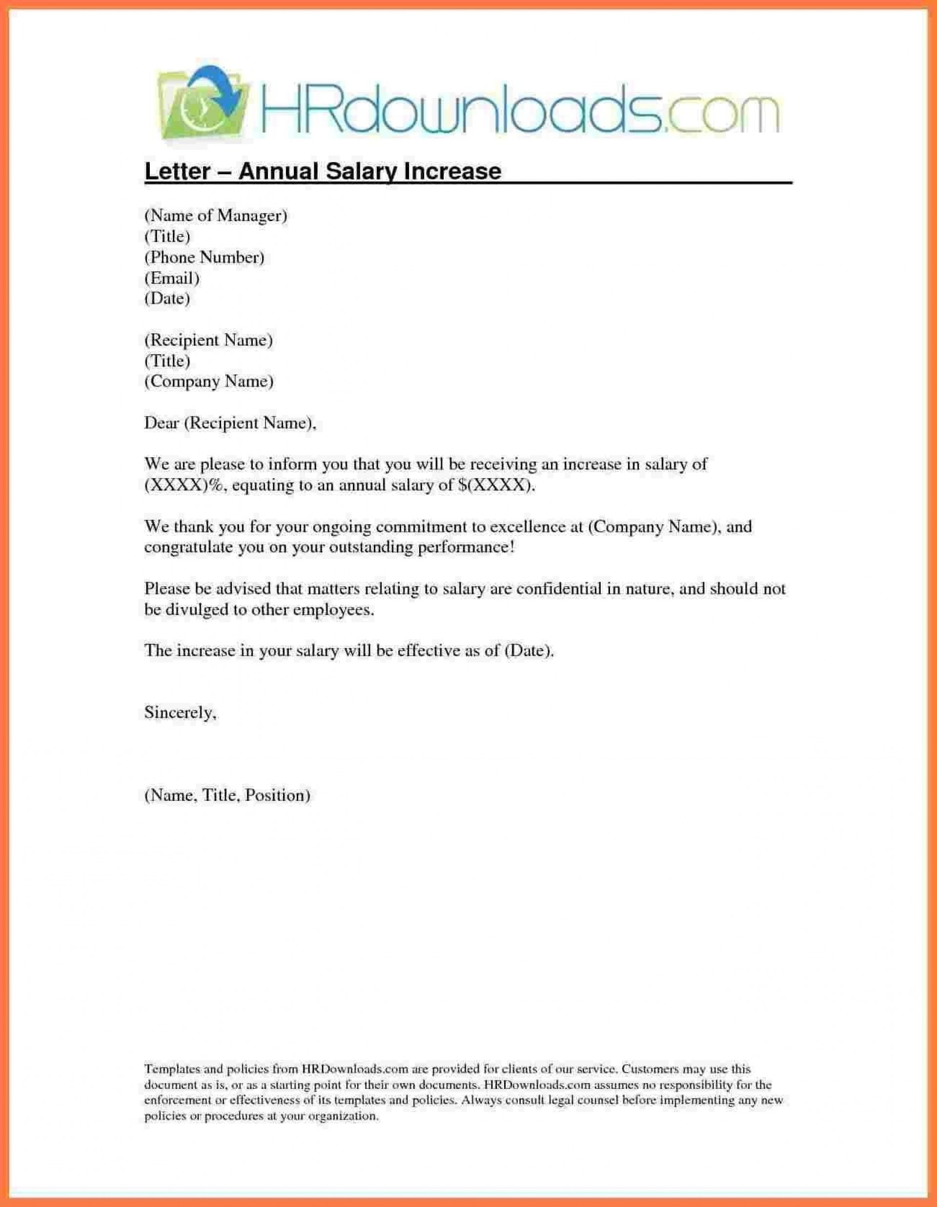 005 Singular Salary Increase Letter Template Idea  From Employer To Employee Australia No For1920