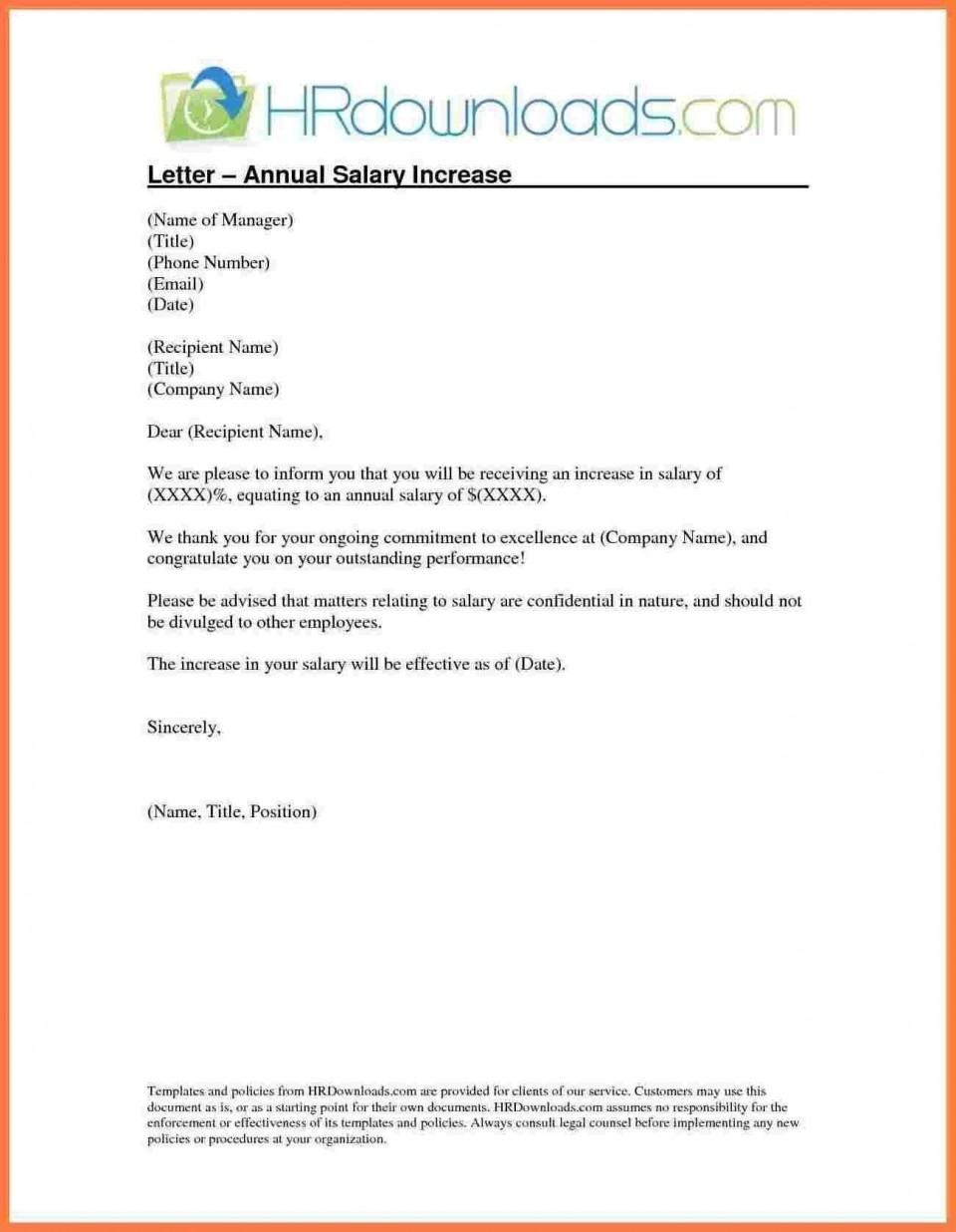 005 Singular Salary Increase Letter Template Idea  From Employer To Employee Australia No For960