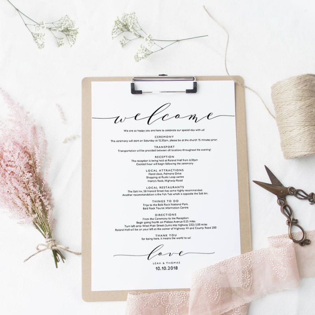005 Singular Wedding Welcome Letter Template Word Highest Clarity Large
