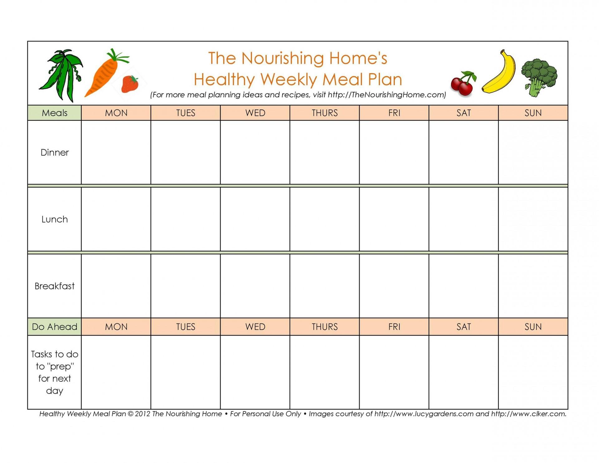 005 Singular Weekly Meal Plan Example Sample  Examples 1 Week Template One1920