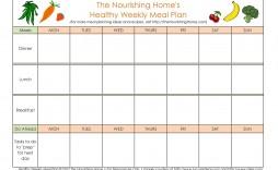 005 Singular Weekly Meal Plan Example Sample  Examples 1 Week Template One