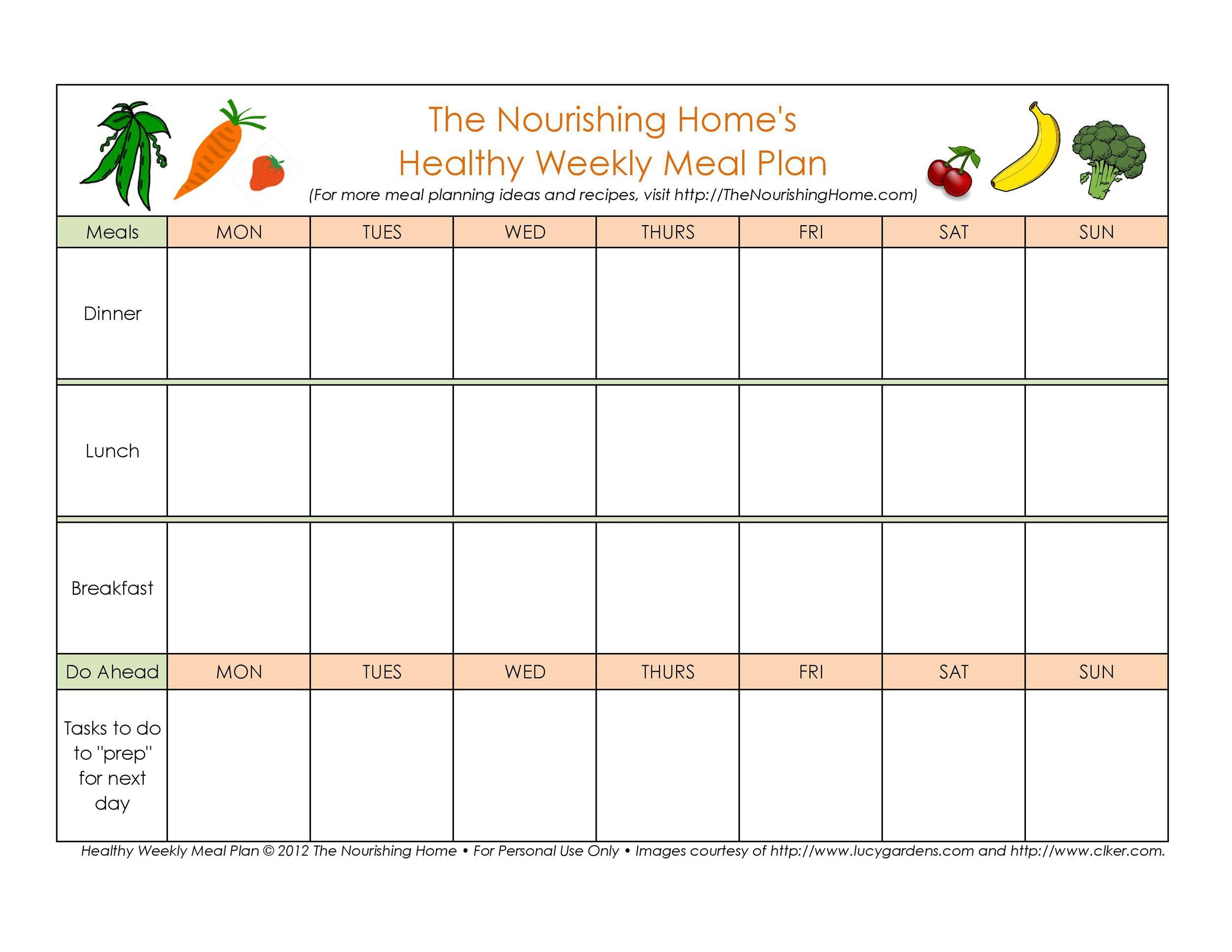 005 Singular Weekly Meal Plan Example Sample  Examples 1 Week Template OneFull