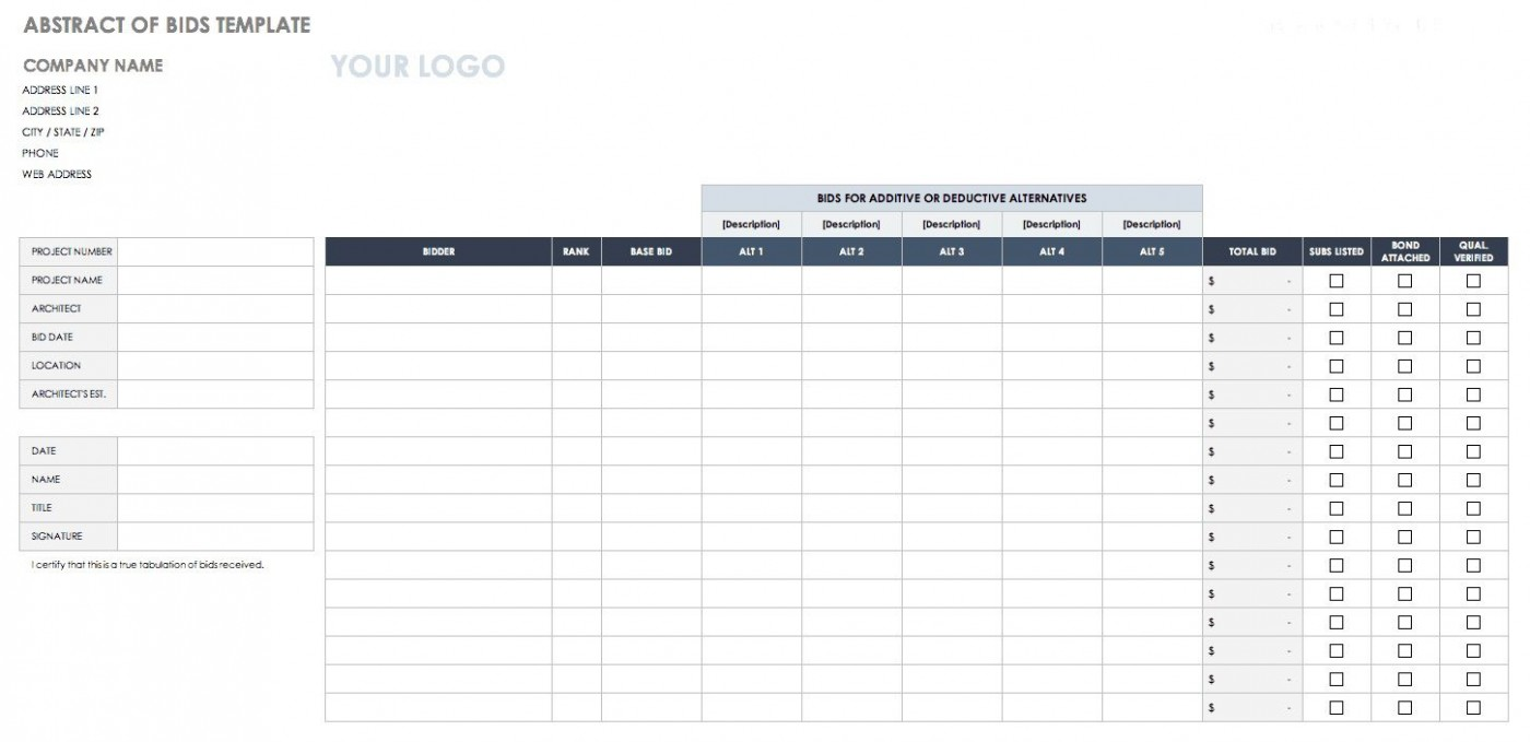 005 Staggering Construction Bid Template Free Excel Highest Clarity 1400