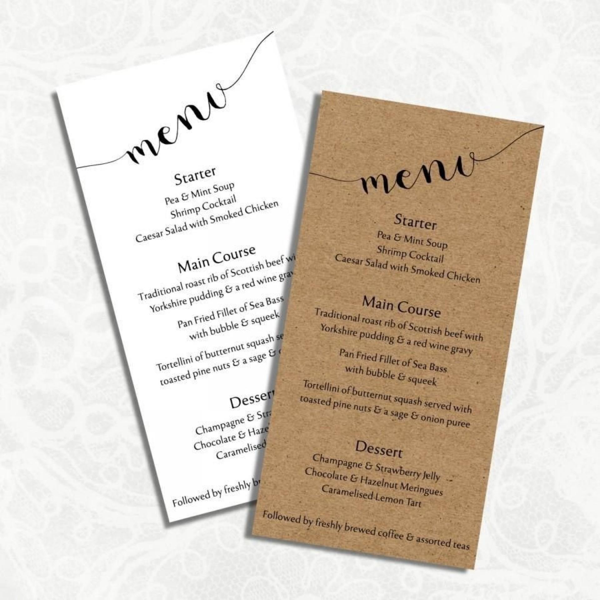 005 Staggering Diy Wedding Menu Template Highest Quality  Free Card1920