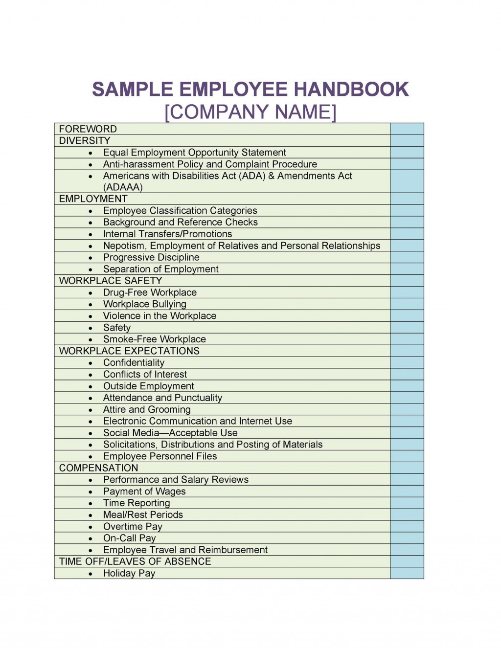 005 Staggering Employee Handbook Template Free Concept  Restaurant Download Induction Manual Sample In SingaporeLarge