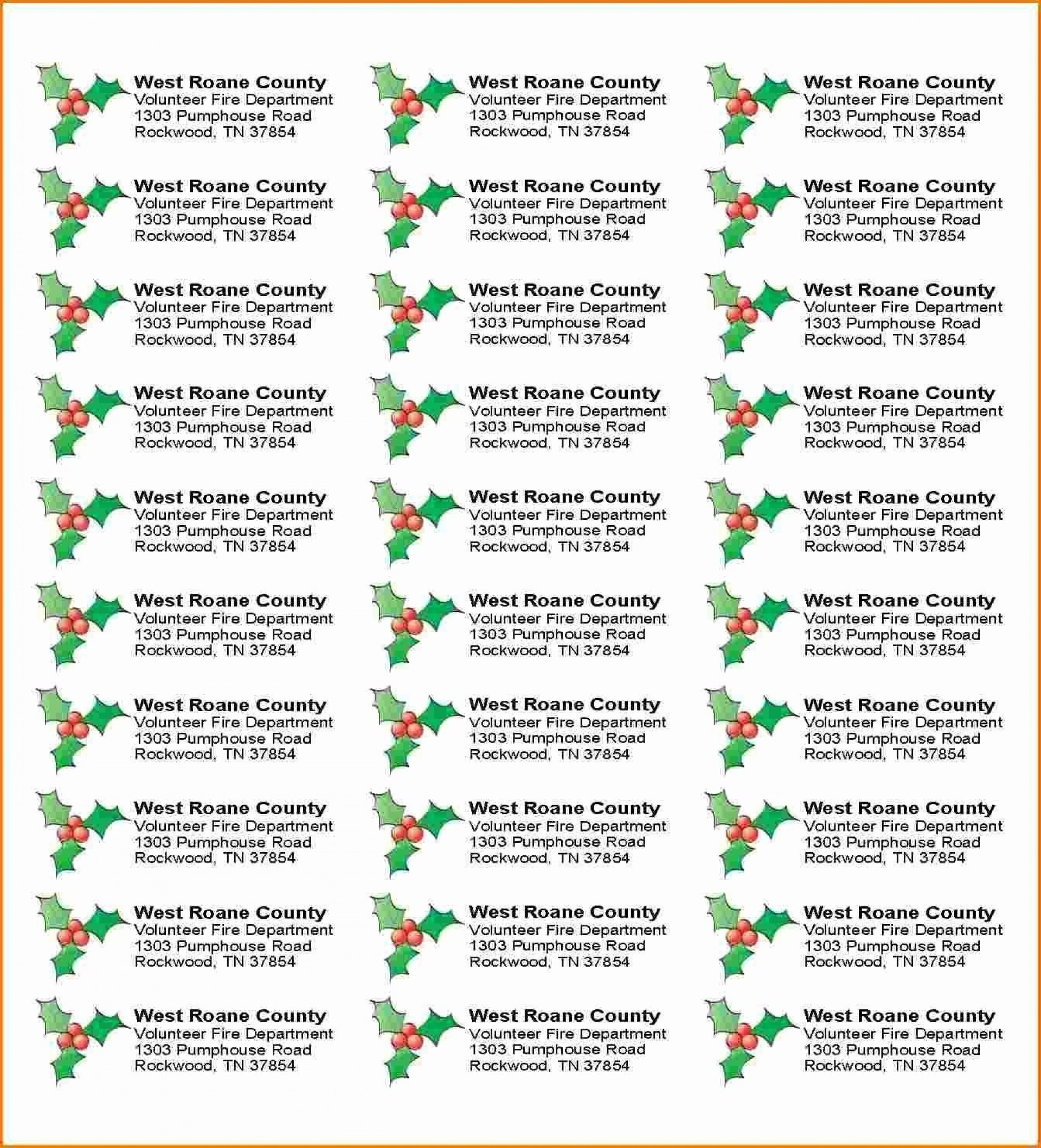 005 Staggering Free Addres Label Template Christma Photo  Christmas Return 30 Per Sheet Microsoft Word1920