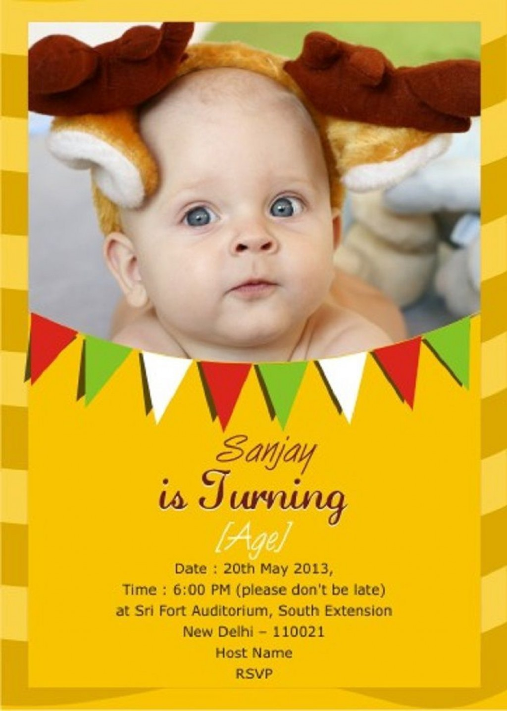 005 Staggering Free Online Birthday Invitation Card Maker With Name And Photo Design Large