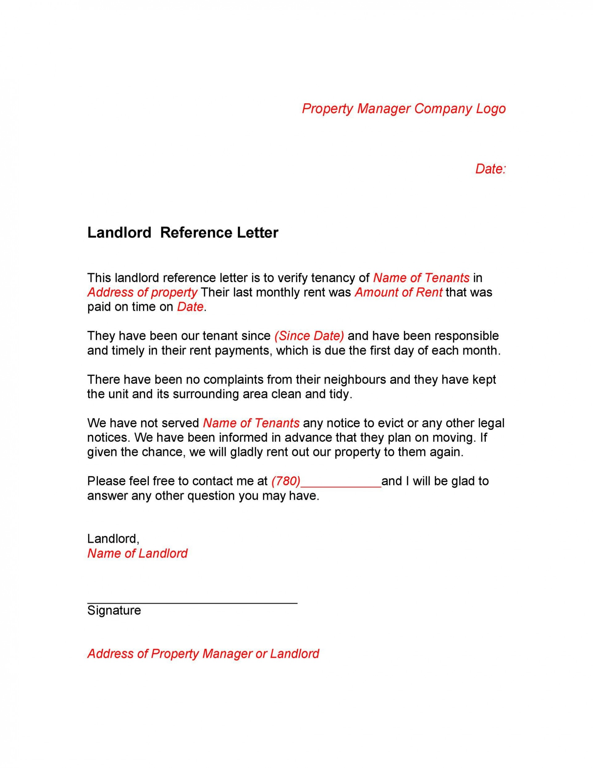005 Staggering Free Reference Letter Template For Landlord Design  Rental1920