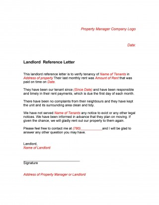 005 Staggering Free Reference Letter Template For Landlord Design  Rental320