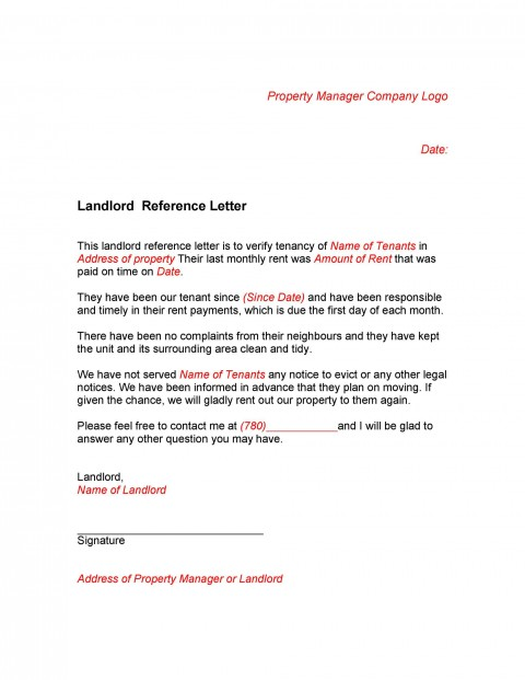 005 Staggering Free Reference Letter Template For Landlord Design  Rental480