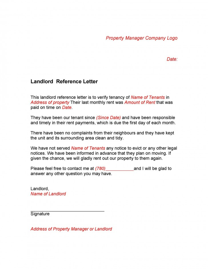 005 Staggering Free Reference Letter Template For Landlord Design  Rental728
