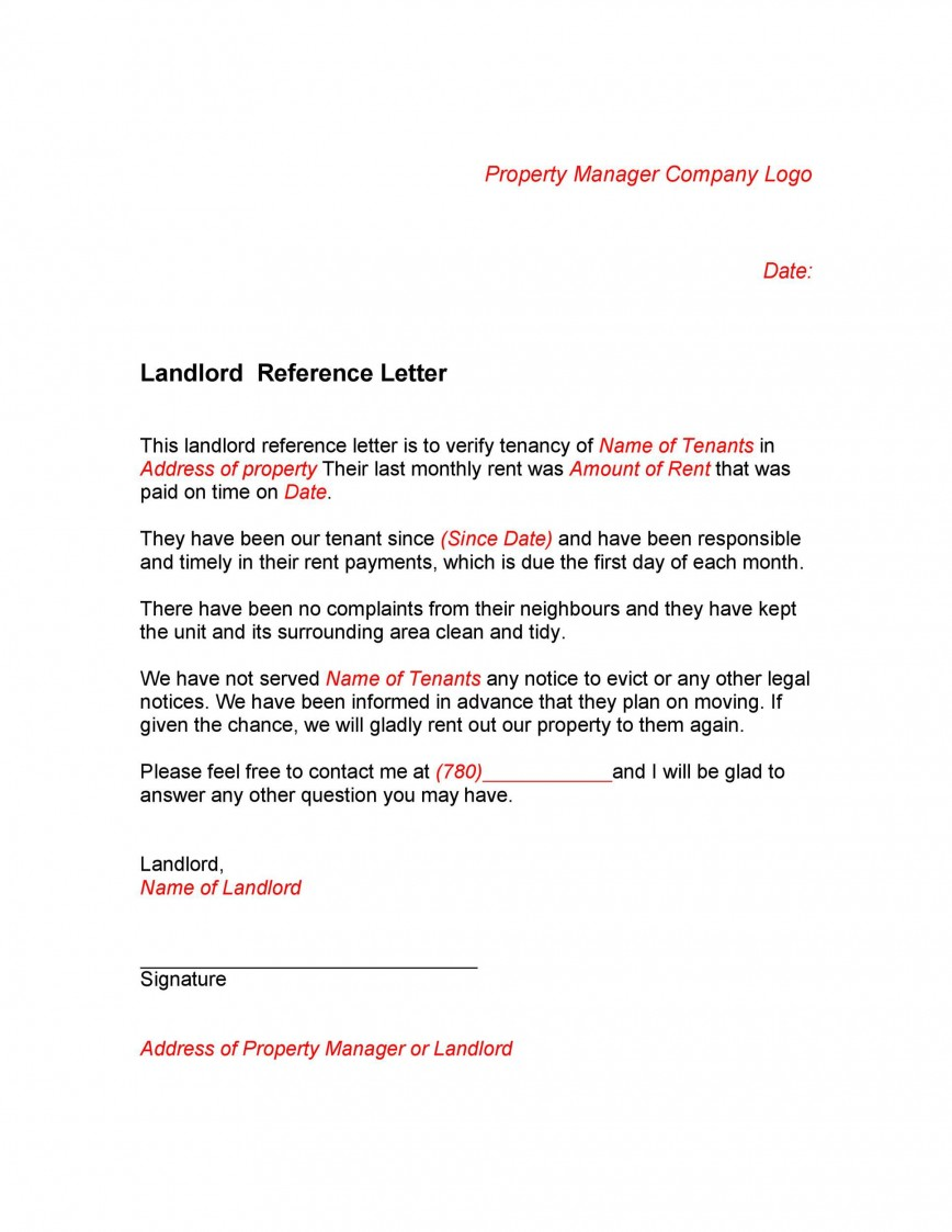 005 Staggering Free Reference Letter Template For Landlord Design  Rental868