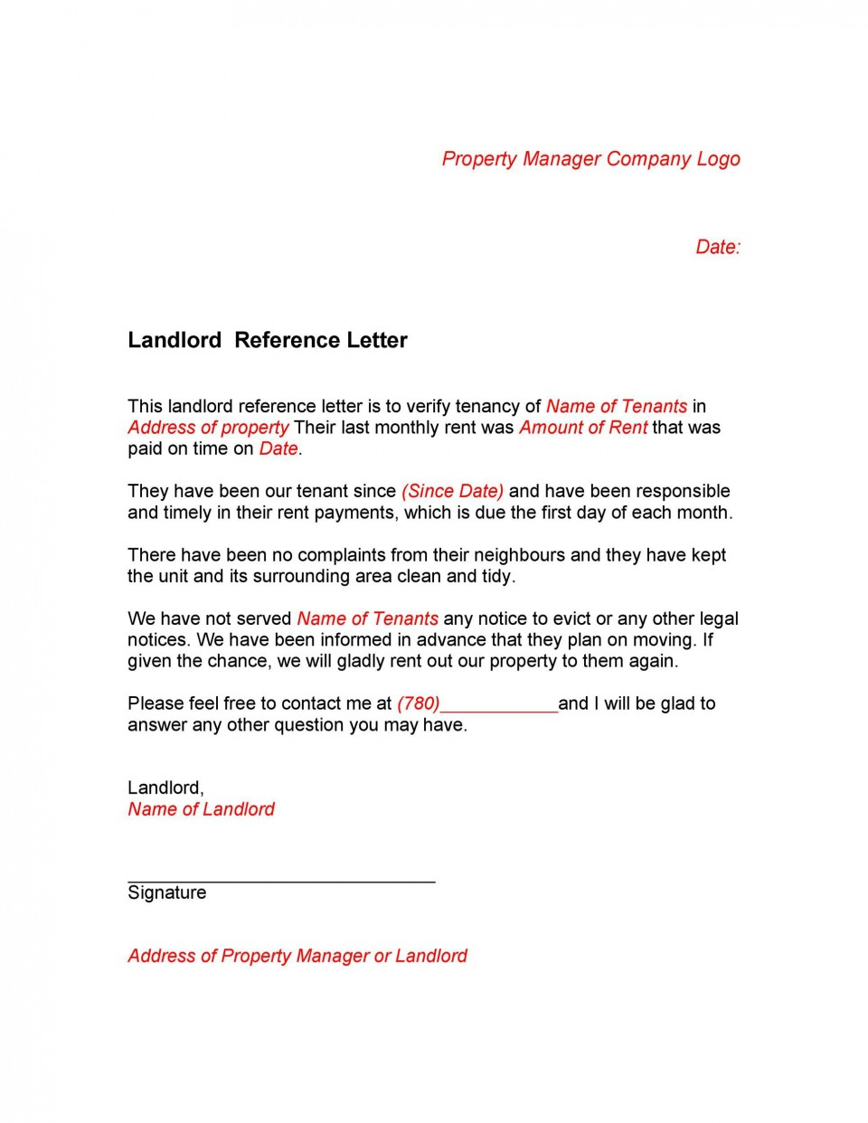 005 Staggering Free Reference Letter Template For Landlord Design  Rental960