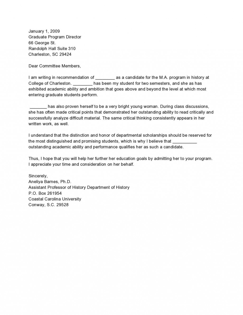 005 Staggering Letter Of Recommendation Template For College Student Highest Quality  Sample From ProfessorLarge