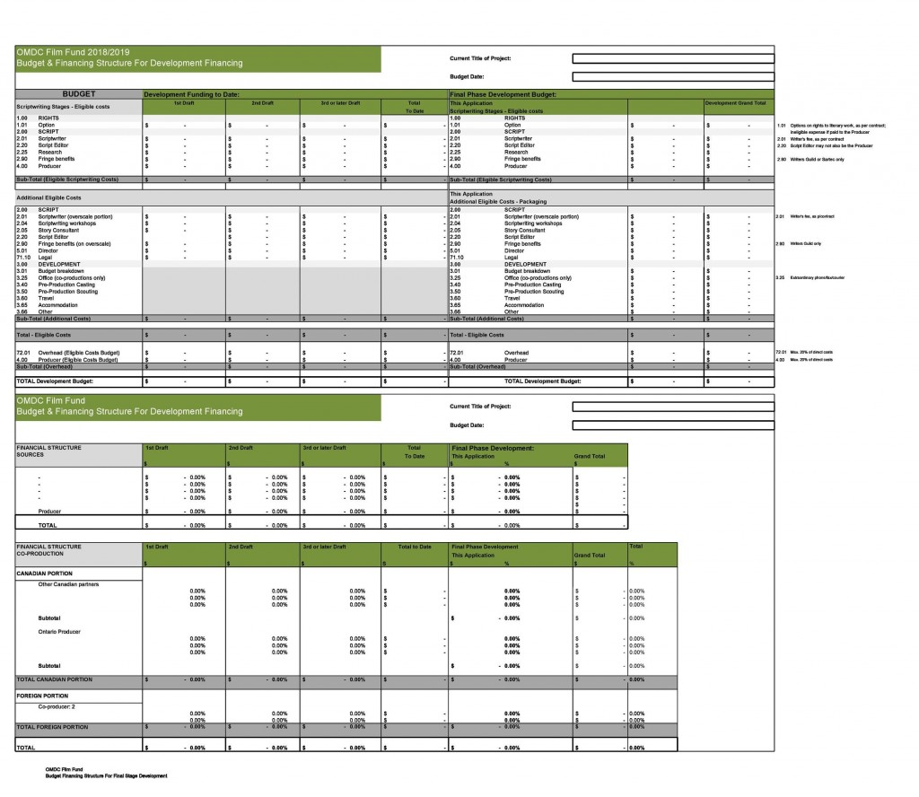 005 Staggering Line Item Budget Template Film Example Large