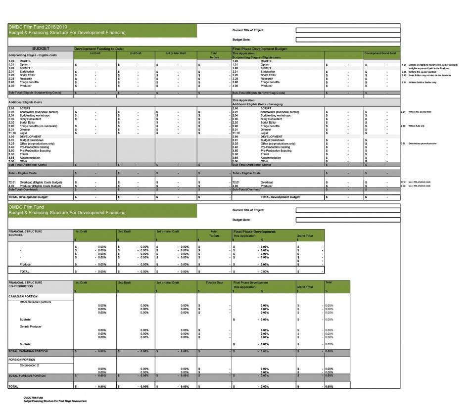 005 Staggering Line Item Budget Template Film Example 960