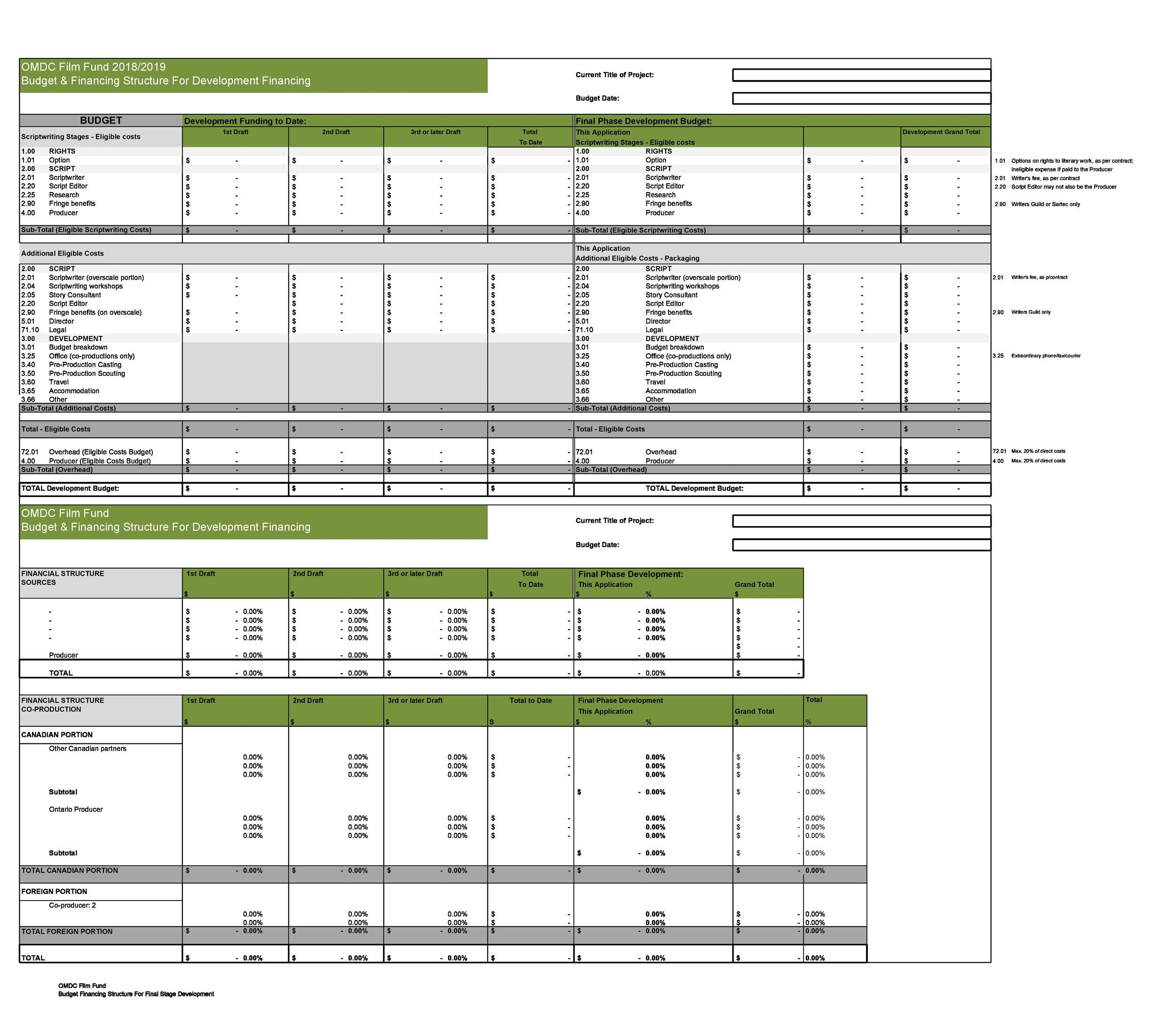 005 Staggering Line Item Budget Template Film Example Full