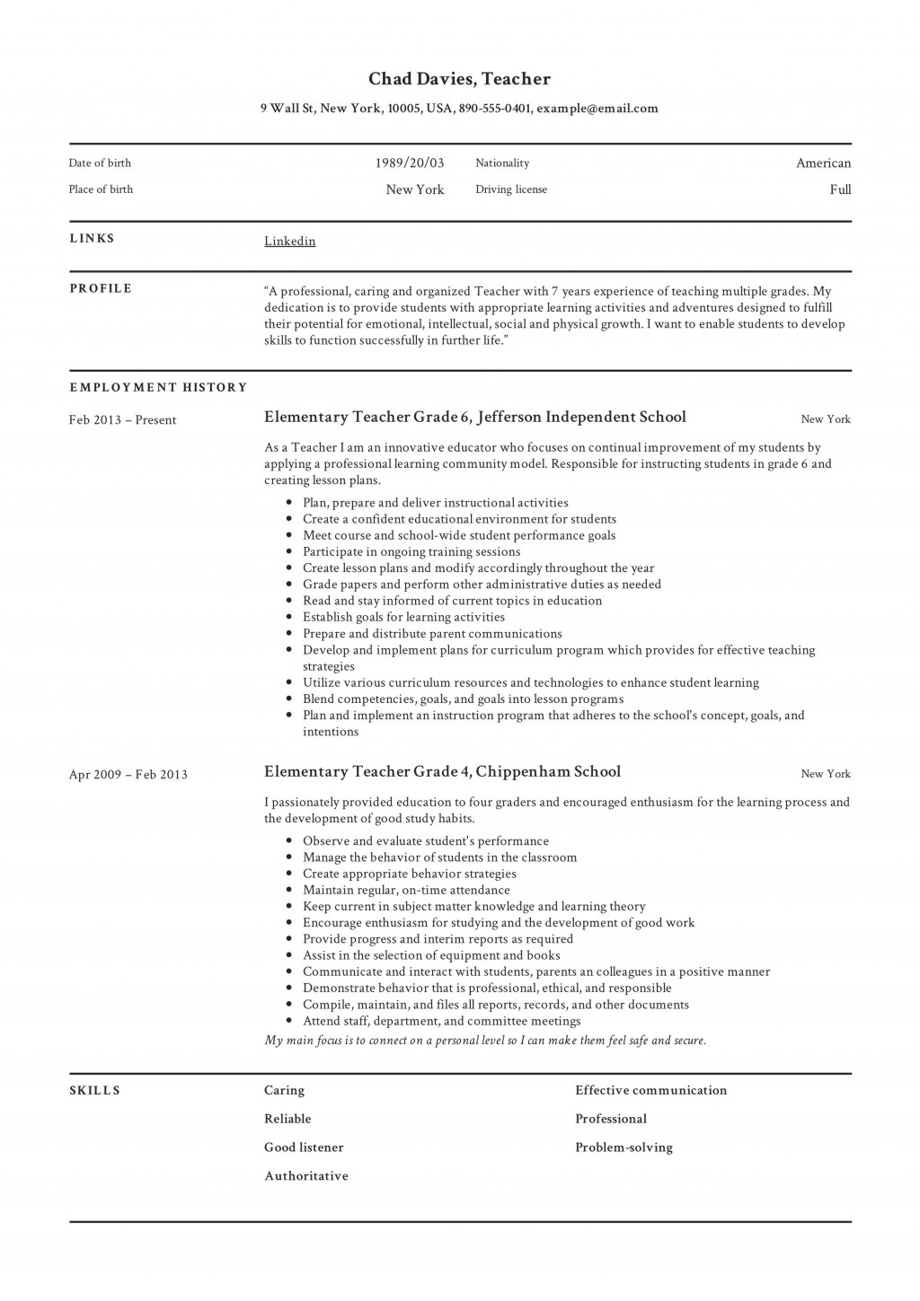 005 Staggering Resume Example For Teaching Job Highest Clarity  Jobs Format Sample Curriculum Vitae Profession In IndiaLarge