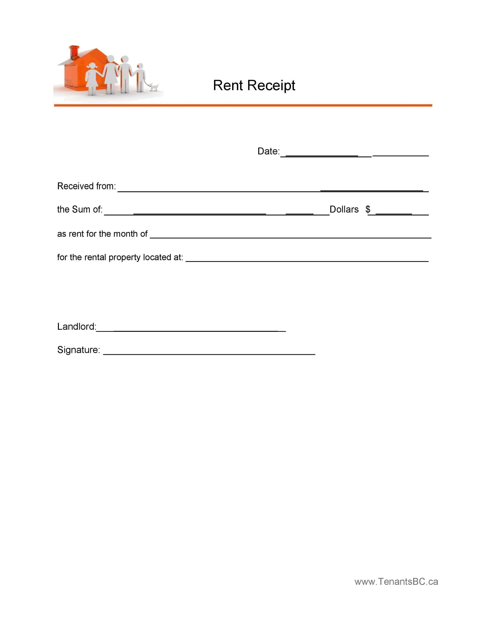 005 Staggering Sample Rent Receipt Word Doc Concept Full