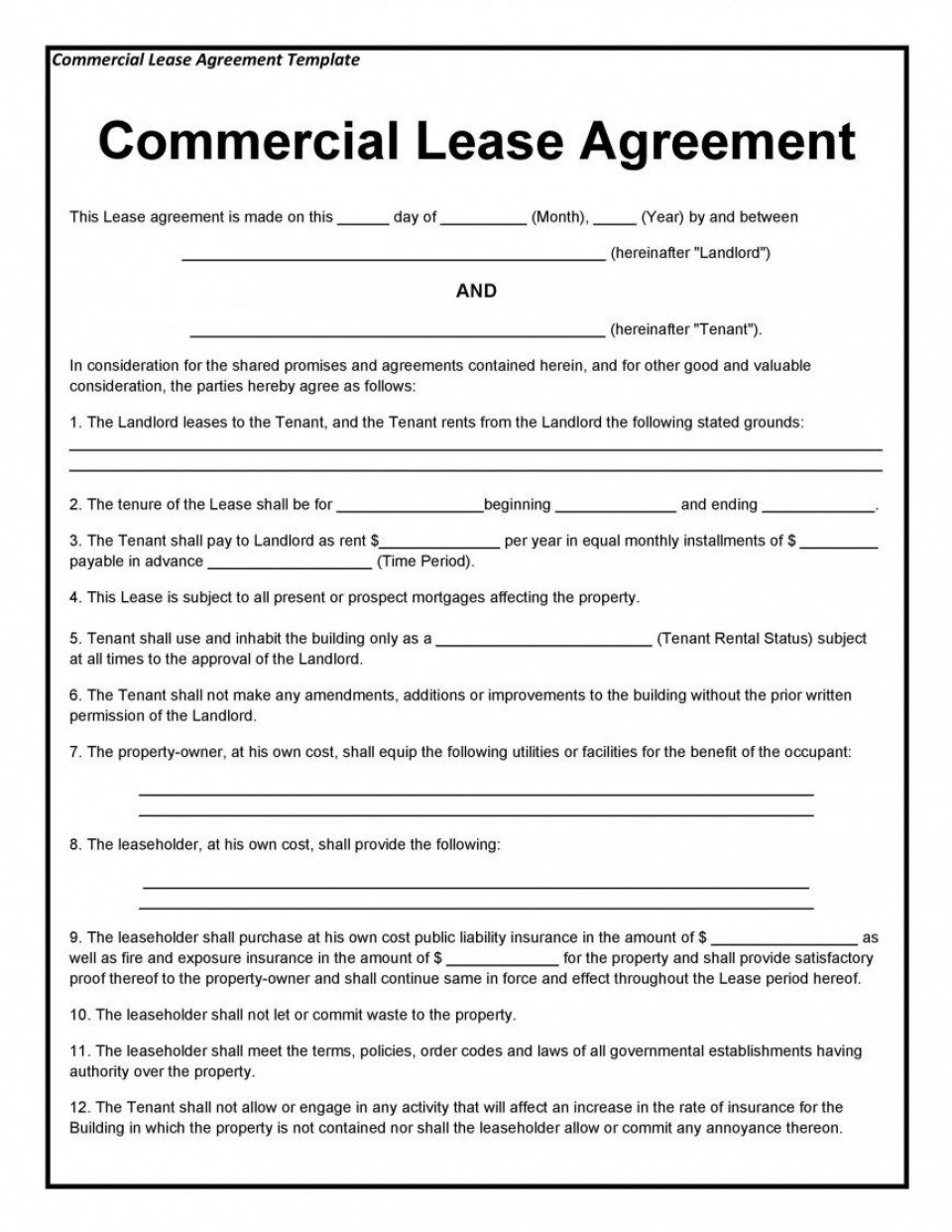005 Staggering Template For Property Rental Agreement Highest Quality  Sample Commercial960