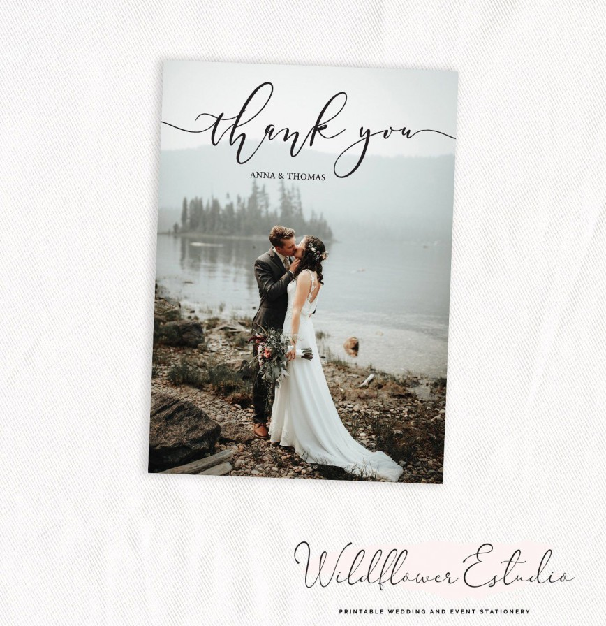 005 Staggering Wedding Thank You Card Template Psd Idea  Free