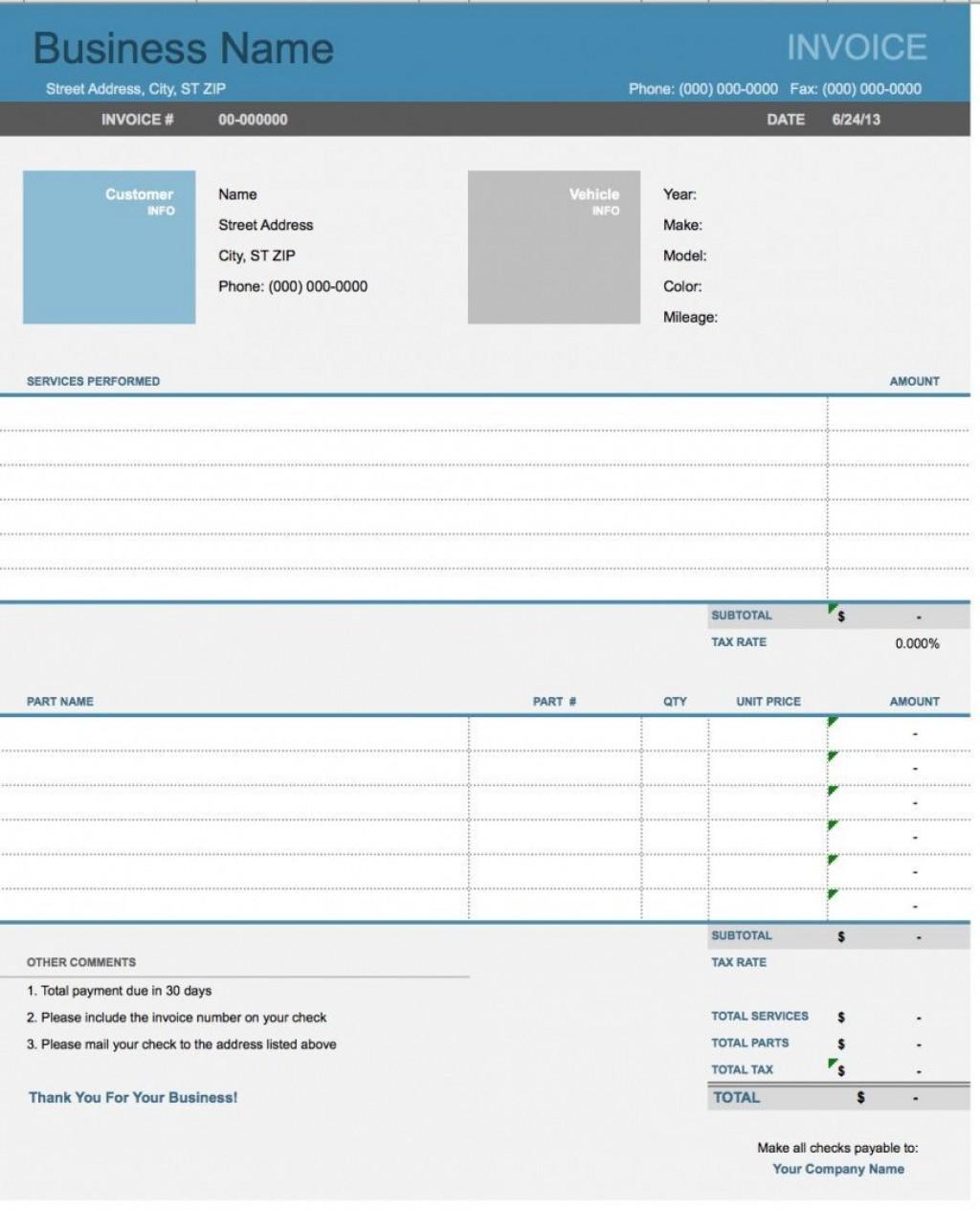 005 Stirring Auto Repair Invoice Template Excel Inspiration Large
