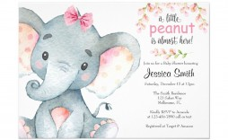 005 Stirring Baby Shower Invitation Girl Elephant Design  Free Pink Template