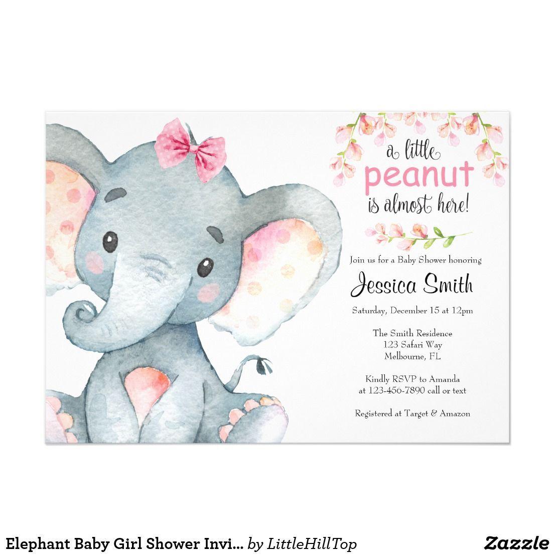 005 Stirring Baby Shower Invitation Girl Elephant Design  Free Pink TemplateFull