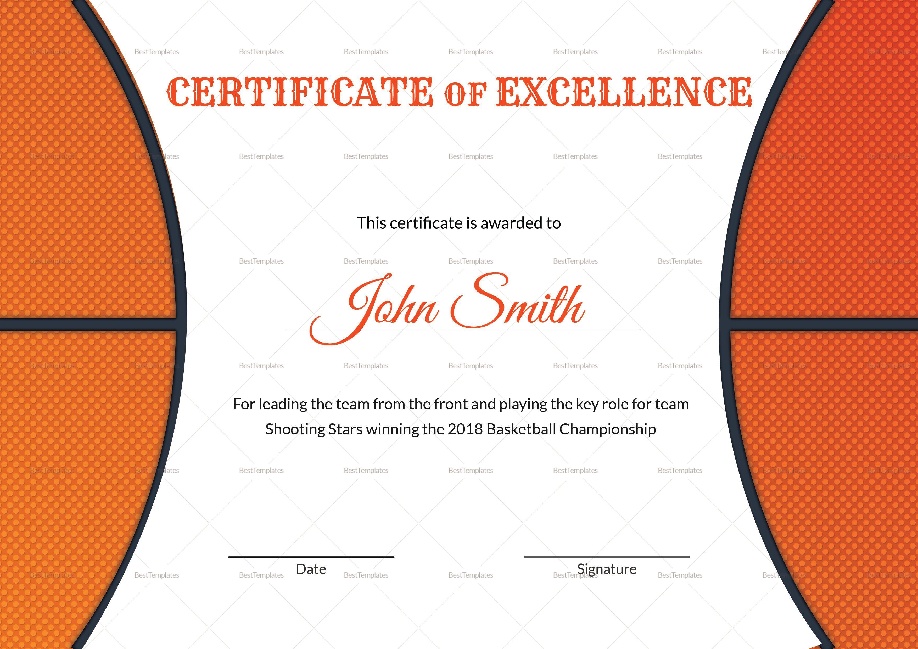 005 Stirring Free Printable Basketball Certificate Template High Resolution  TemplatesFull