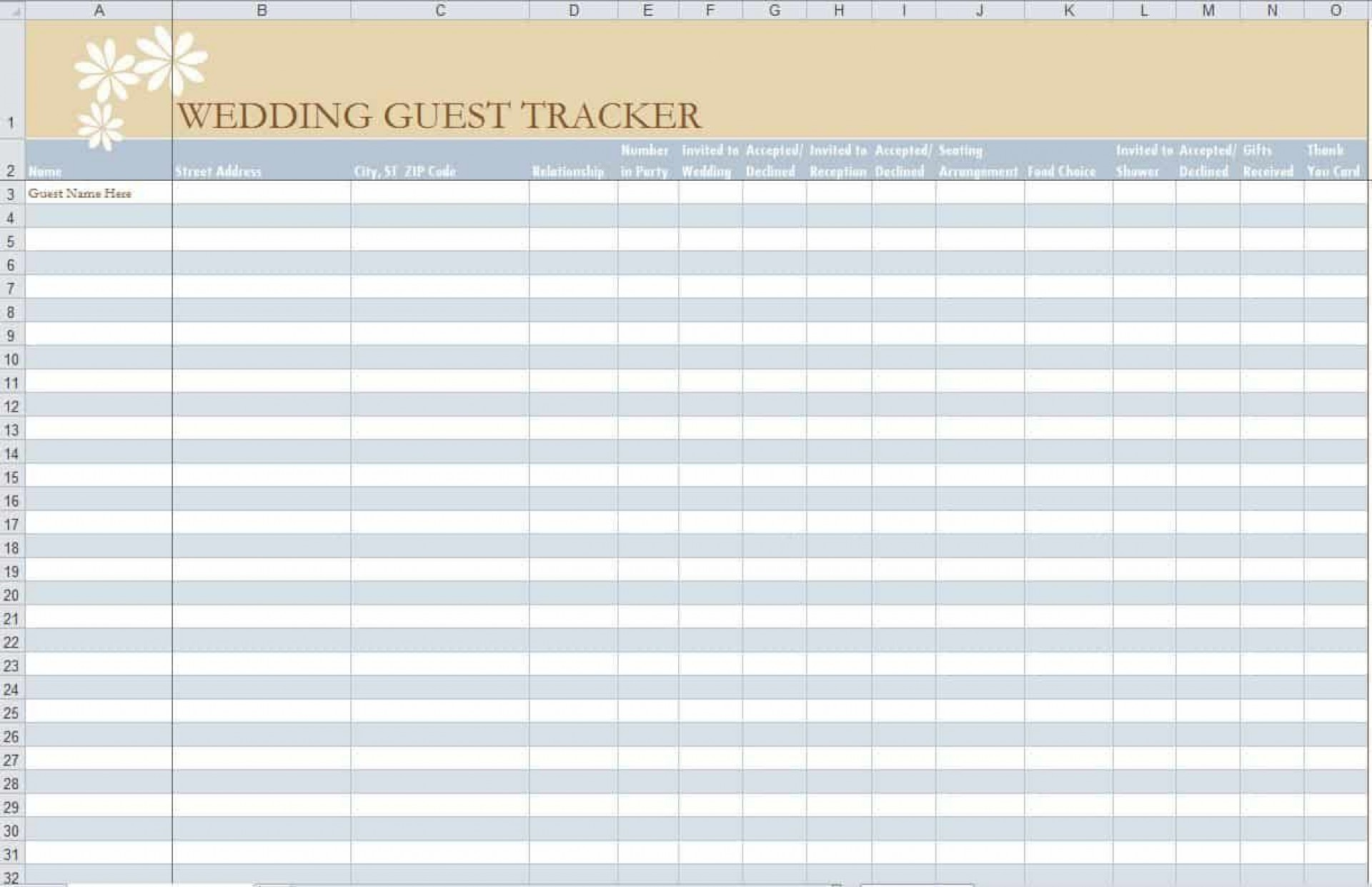 005 Stirring Party Guest List Template Excel Free High Definition 1920