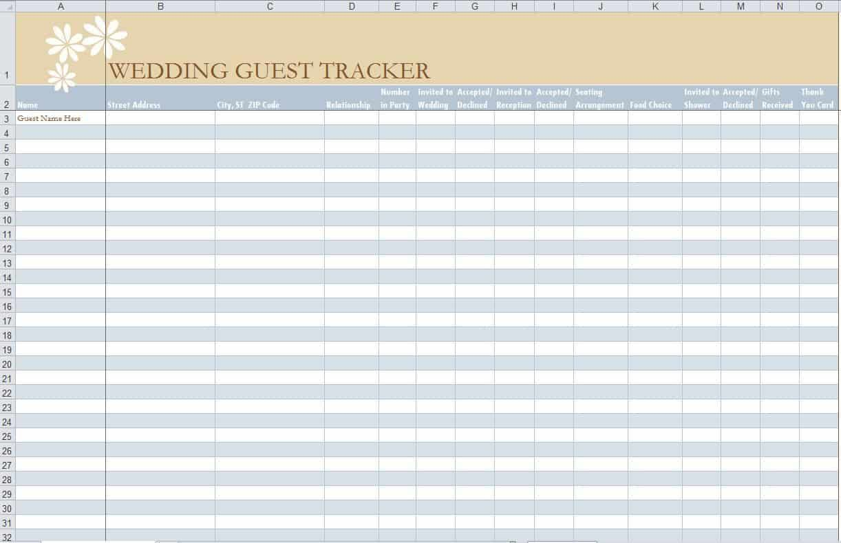 005 Stirring Party Guest List Template Excel Free High Definition Full