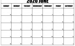 005 Stirring Printable Calendar Template June 2020 Highest Clarity  Free