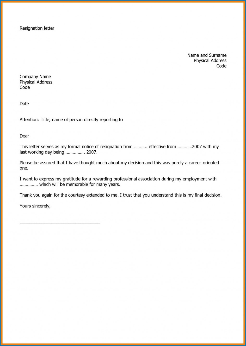 005 Stirring Resignation Letter Template Word High Def  Malaysia UkLarge