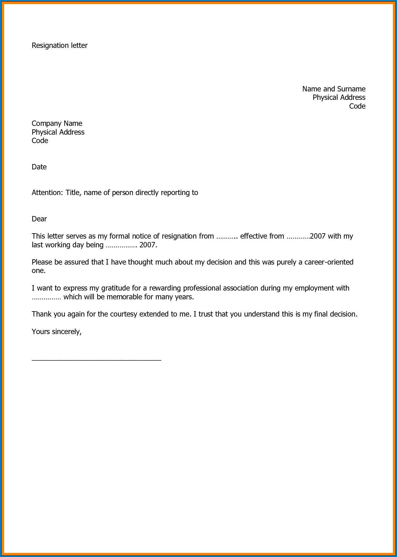005 Stirring Resignation Letter Template Word High Def  Malaysia UkFull