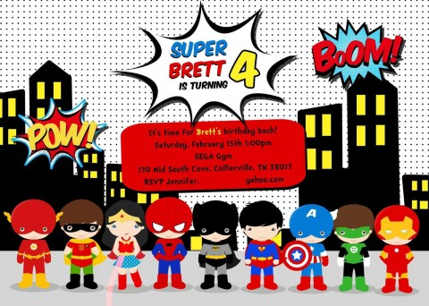 005 Stirring Superhero Birthday Invitation Template Free Highest Clarity 480