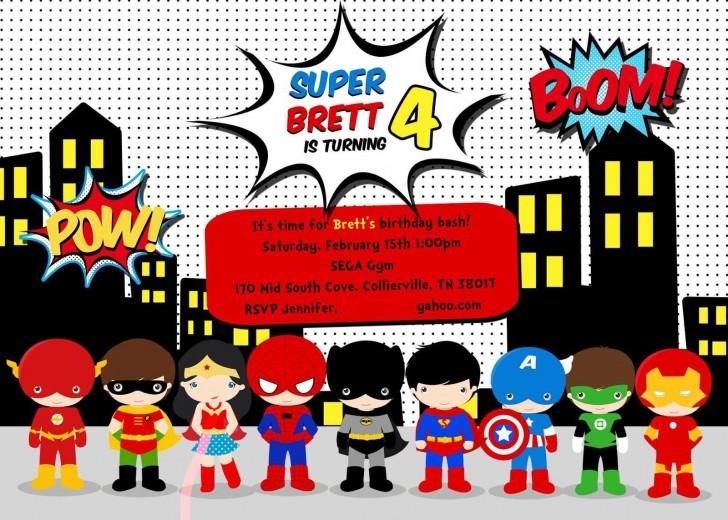 005 Stirring Superhero Birthday Invitation Template Free Highest Clarity 728