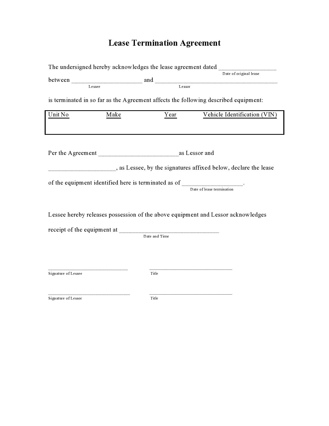 005 Stirring Template For Terminating A Lease Agreement Inspiration  Rental Sample Letter