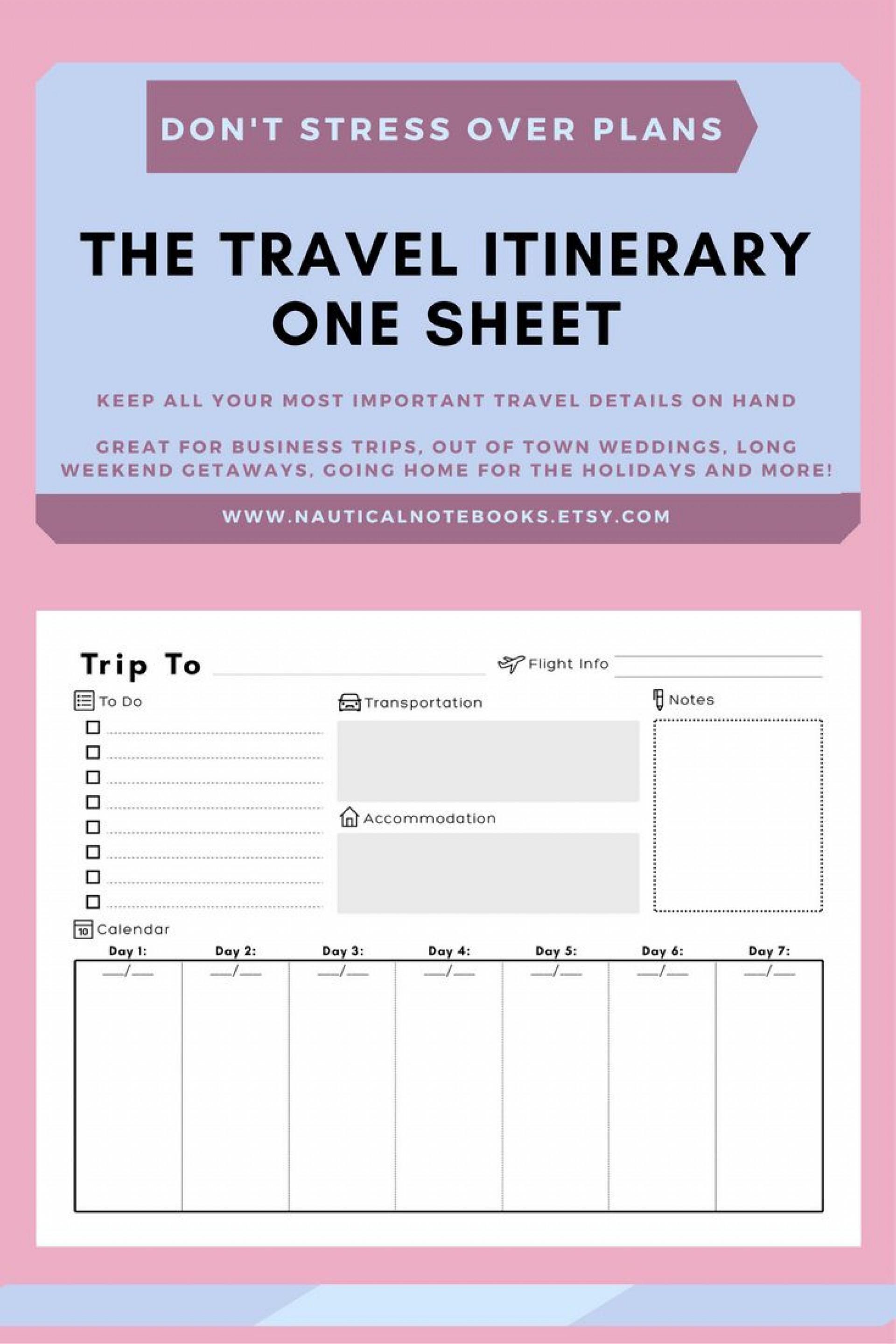 Travel Itinerary Template Word Addictionary