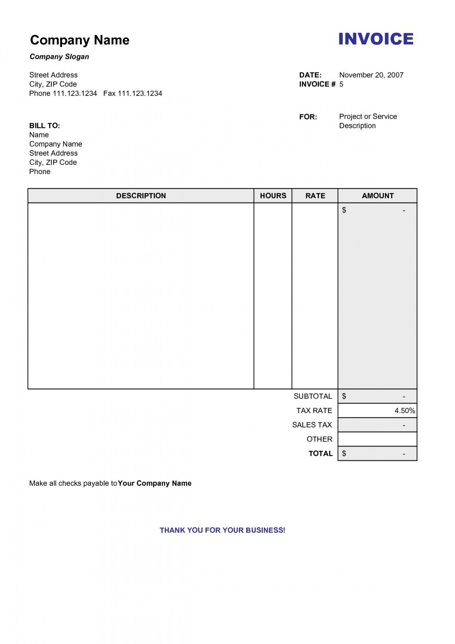 005 Striking Blank Invoice Template Excel Inspiration  Free Download Receipt1920