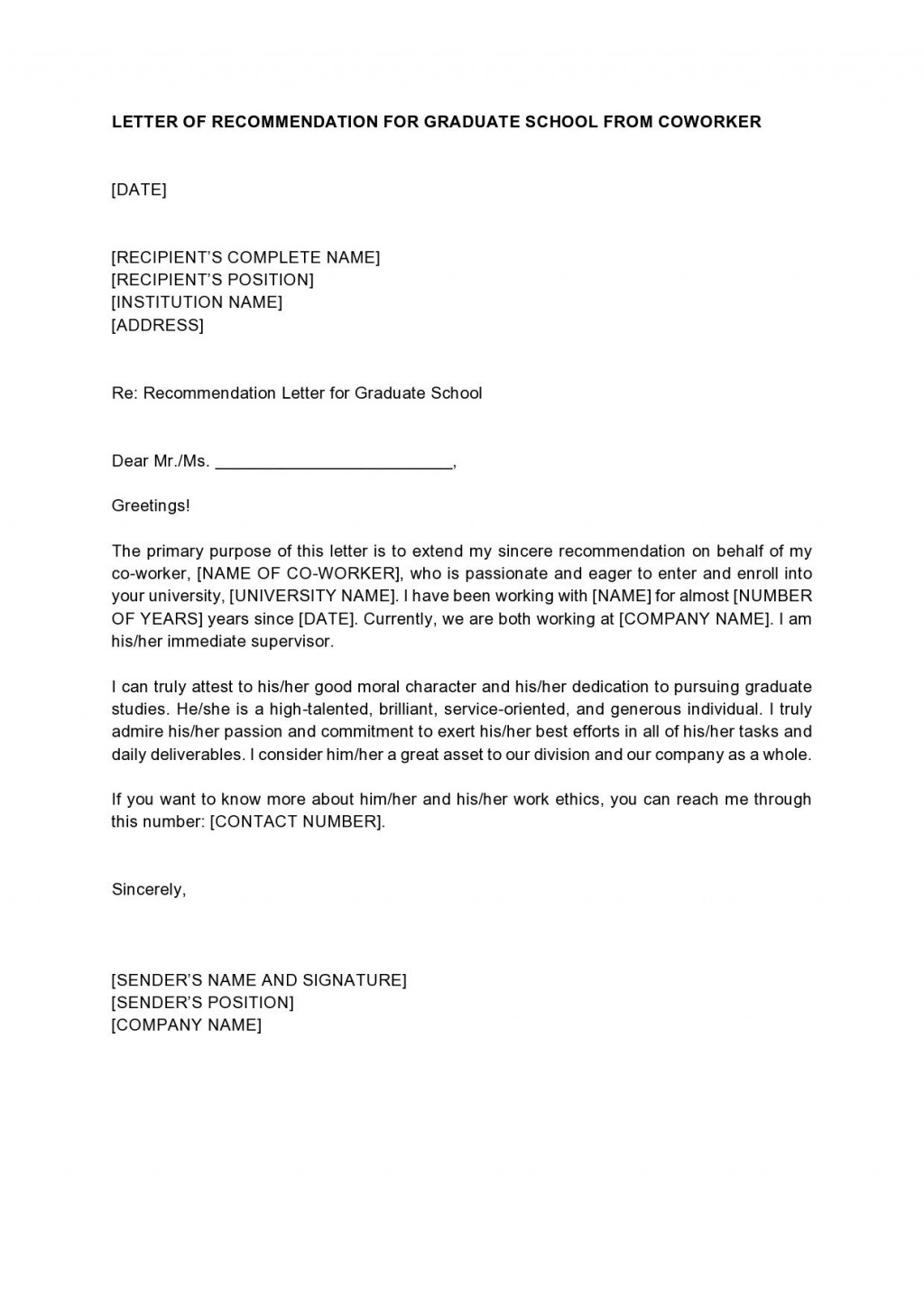 005 Striking Example Of Letter Recommendation For Graduate School From Employer High Def  Sample Pdf GradLarge