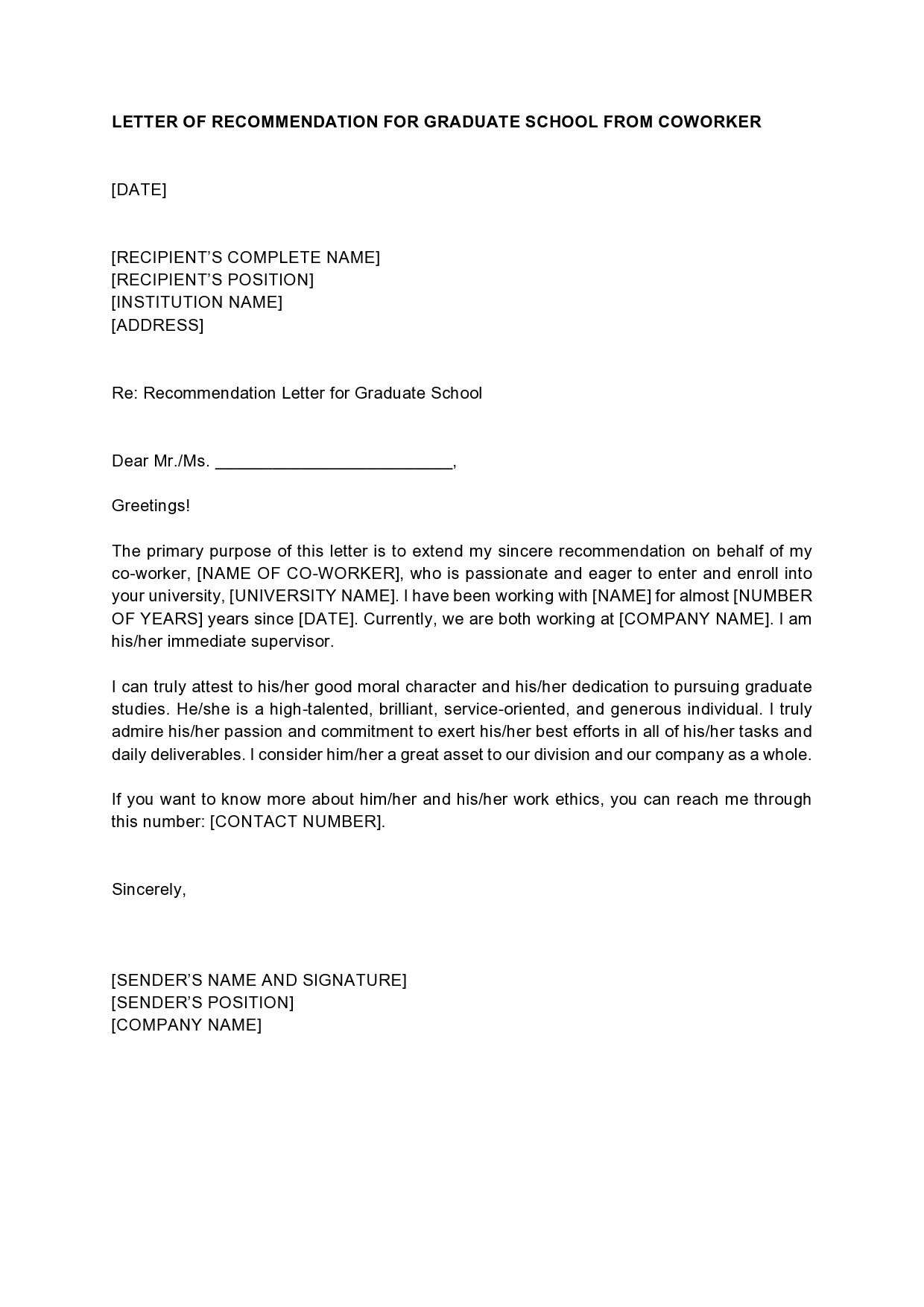 005 Striking Example Of Letter Recommendation For Graduate School From Employer High Def  Sample Pdf GradFull