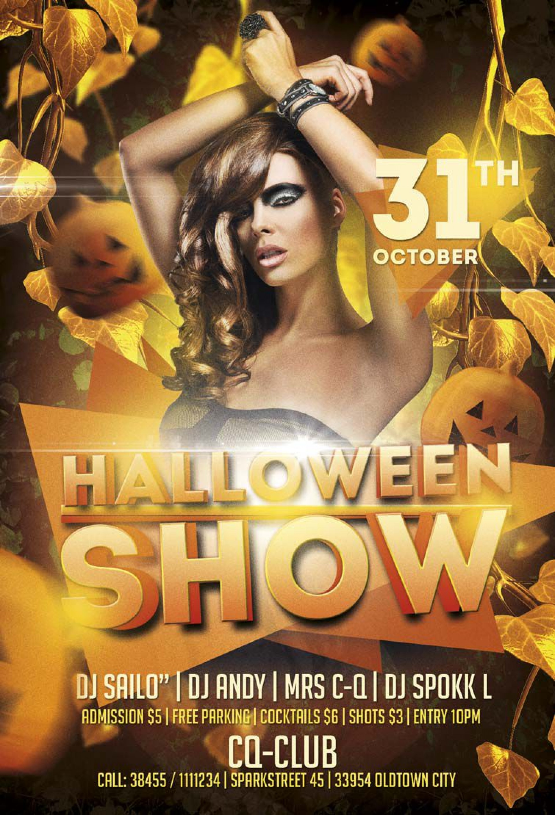 005 Striking Free Halloween Party Flyer Template Image  Templates1920