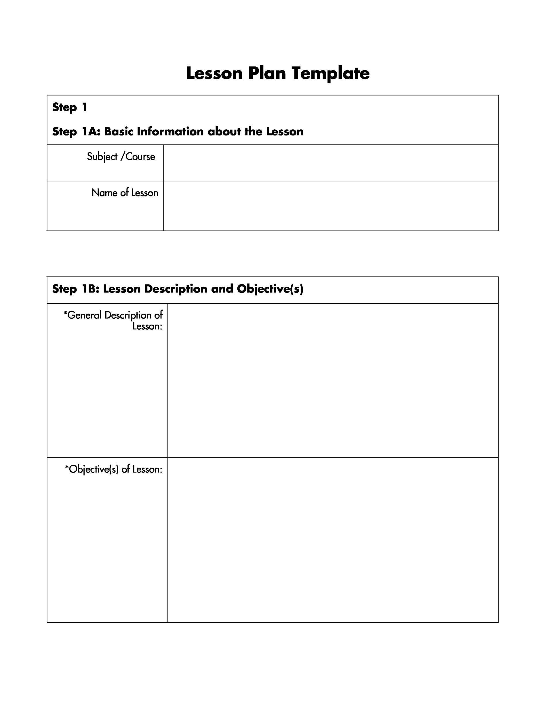 005 Striking Free Lesson Plan Template Idea  Templates Editable For Preschool Google DocFull