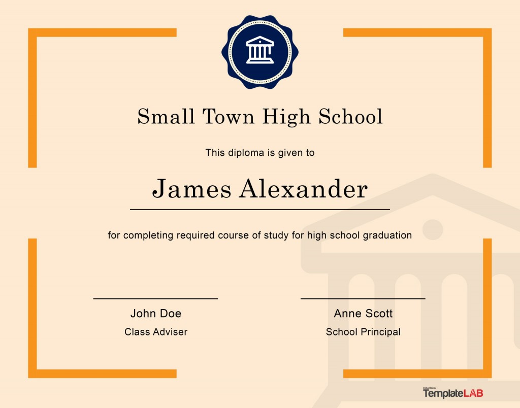 005 Striking Free Printable High School Diploma Online Def Large