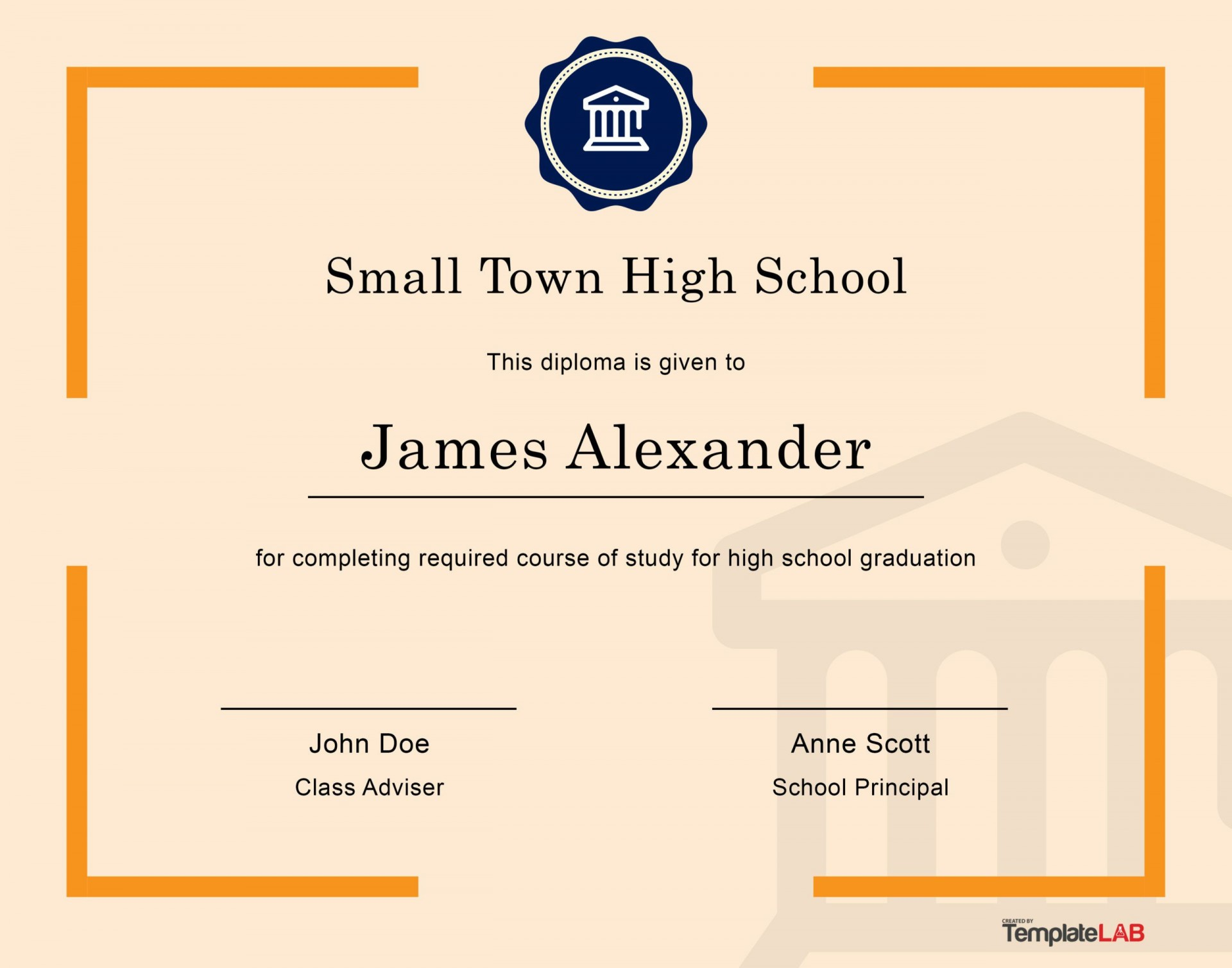 005 Striking Free Printable High School Diploma Online Def 1920