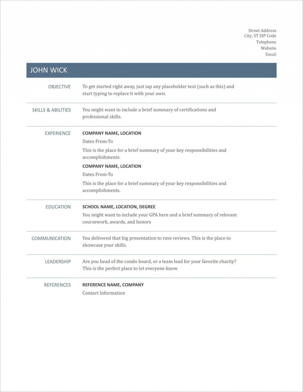 005 Striking Free Printable Resume Template Australia Photo Large