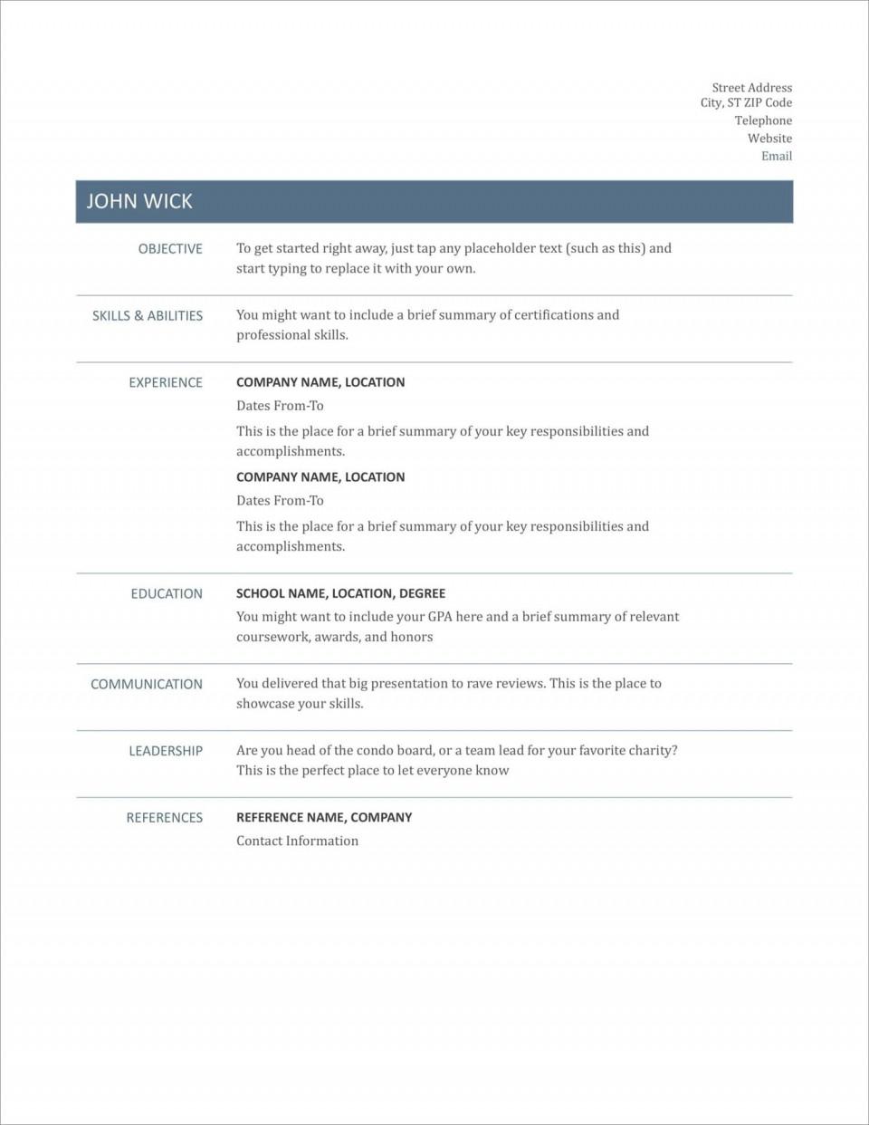005 Striking Free Printable Resume Template Australia Photo 960
