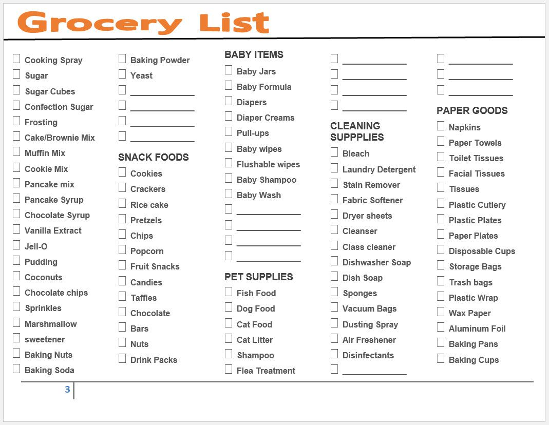 005 Striking Grocery List Template Excel Free Download Picture Full