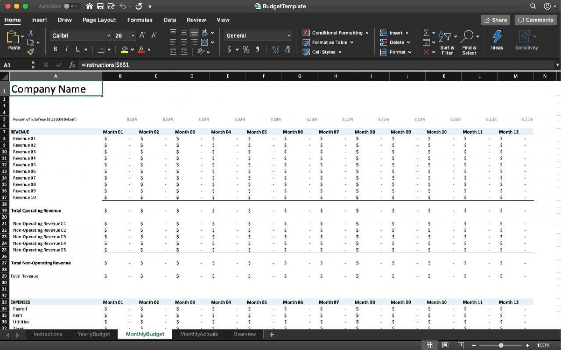 005 Striking Microsoft Office Excel Monthly Budget Template Idea 1920